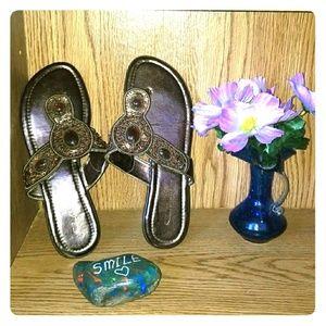 Beaded bronze sandals